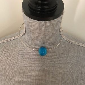 Wire Necklace w/ Blue Bead